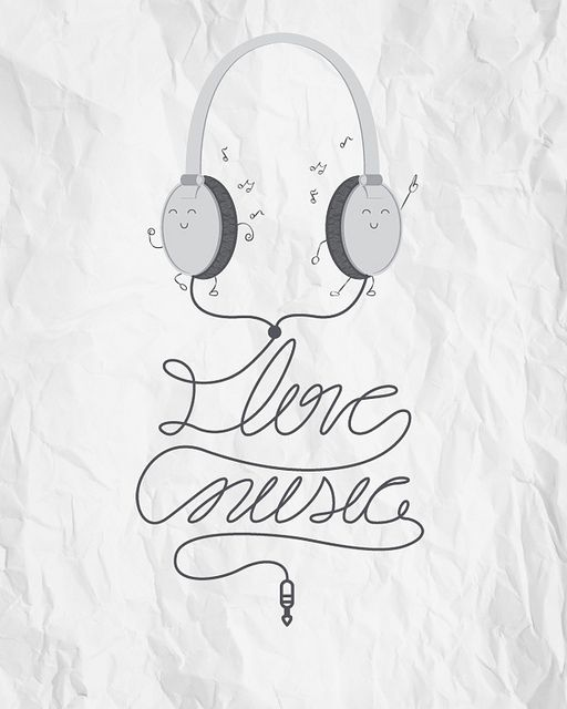 """""""I Love Music"""" and I love the illustration of the earphones dancing :)"""