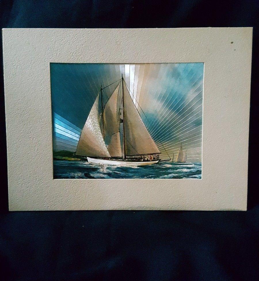 "Vintage Dufex Foil Print Sailboats 5 3/4 X 6 1/2"""