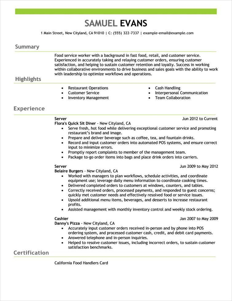 Free Resume Examples by Industry  Job Title LiveCareer resume - Examples Of Resumes For Restaurant Jobs