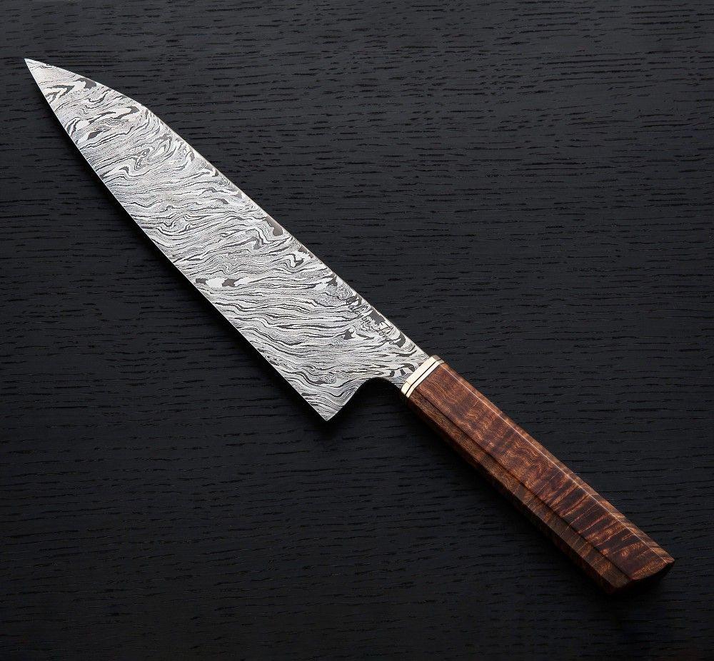 Ringed Gidgee Damascus Gyuto 235mm Eatingtools Com Chef Knife Knife Handmade Chef Knife