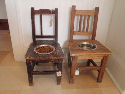 Neat way to repurpose old chairs for dog food bowl holders