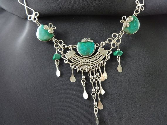 Malachite Necklace with Sterling Wire Work Unique by MyRockinHeart
