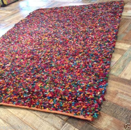 Fair Trade Thick Tufted Reversible Shaggy Indian Rag Rug Multi Coloured Cotton Nuevo Hogar Hogar Ano Nuevo