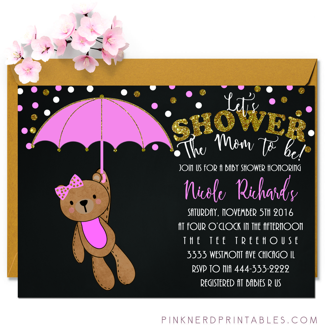 Glitter teddy bear baby shower invitation pink bow - Pink Nerd ...