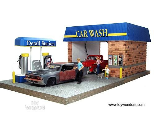 American Diorama Buildings Car Wash Diorama With 4 Figures Working Light 1 24 Scale 77730 Car Wash Diorama Car
