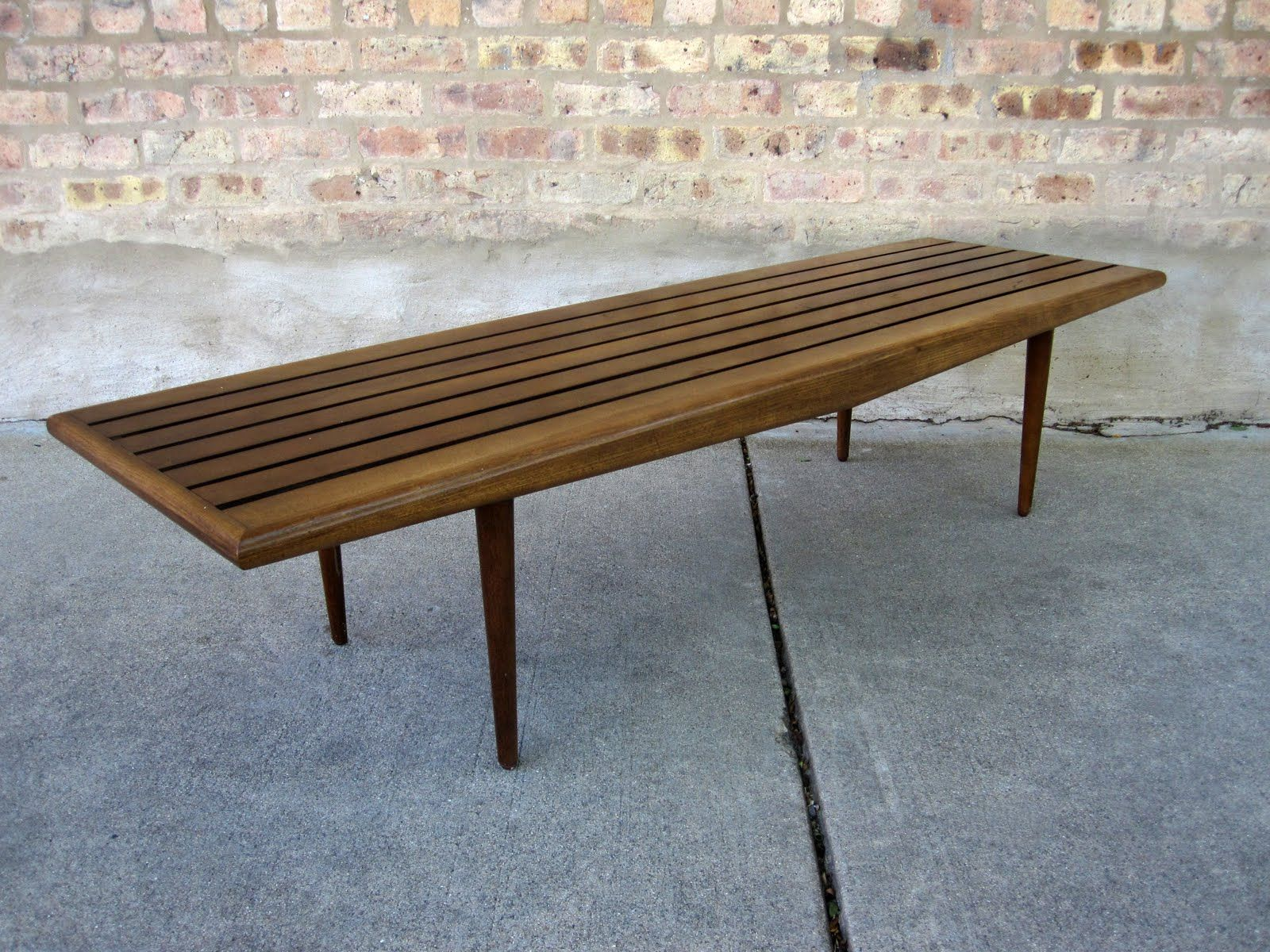 circa midcentury danish modern slat bench coffee table want
