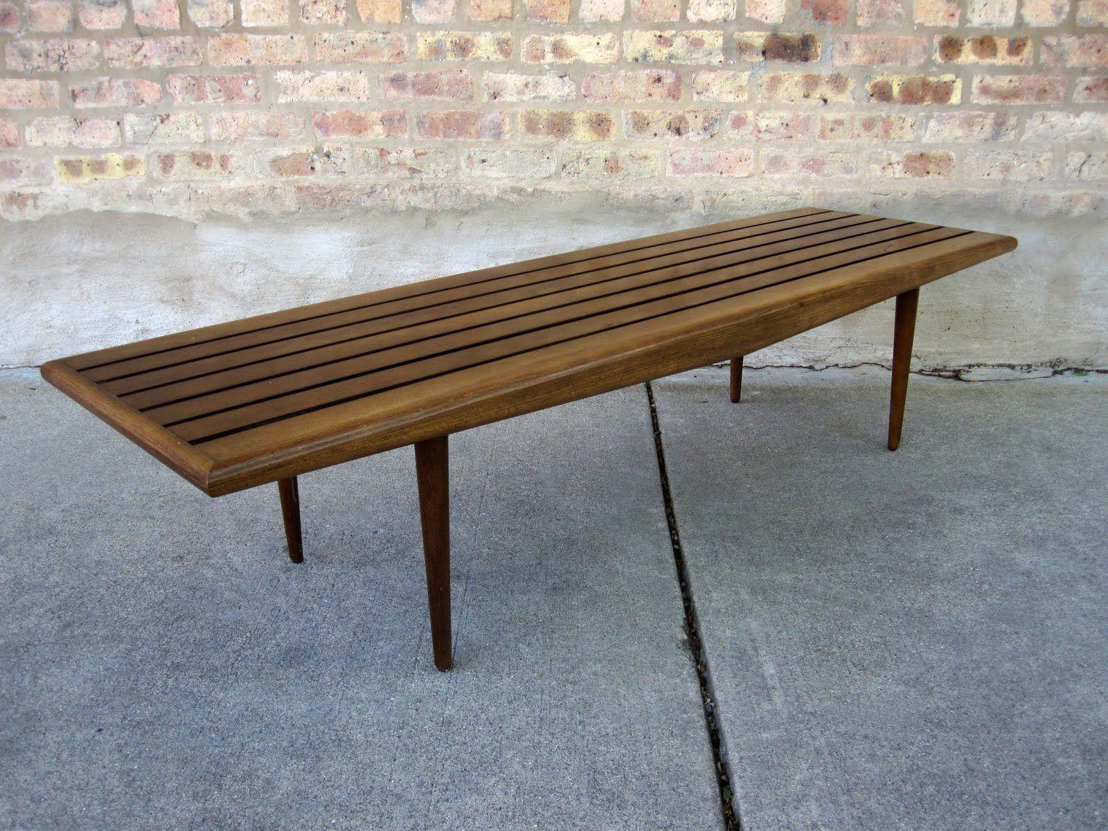 Circa Midcentury Danish Modern Slat Bench Coffee Table Want