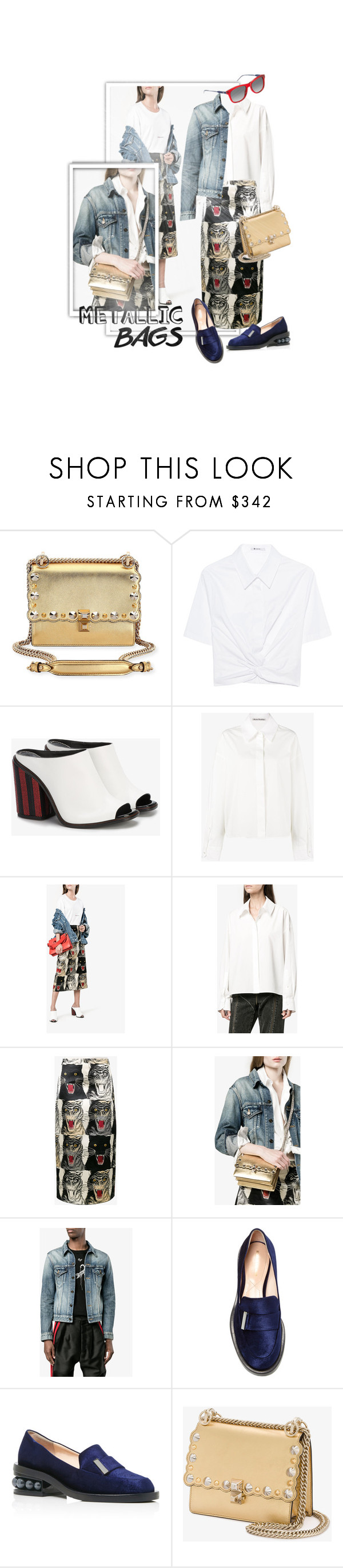 """""""Metallic Bag"""" by ivyargmagno ❤ liked on Polyvore featuring Fendi, T By Alexander Wang, Proenza Schouler, Acne Studios, Gucci, Yves Saint Laurent, Nicholas Kirkwood and Tommy Hilfiger"""