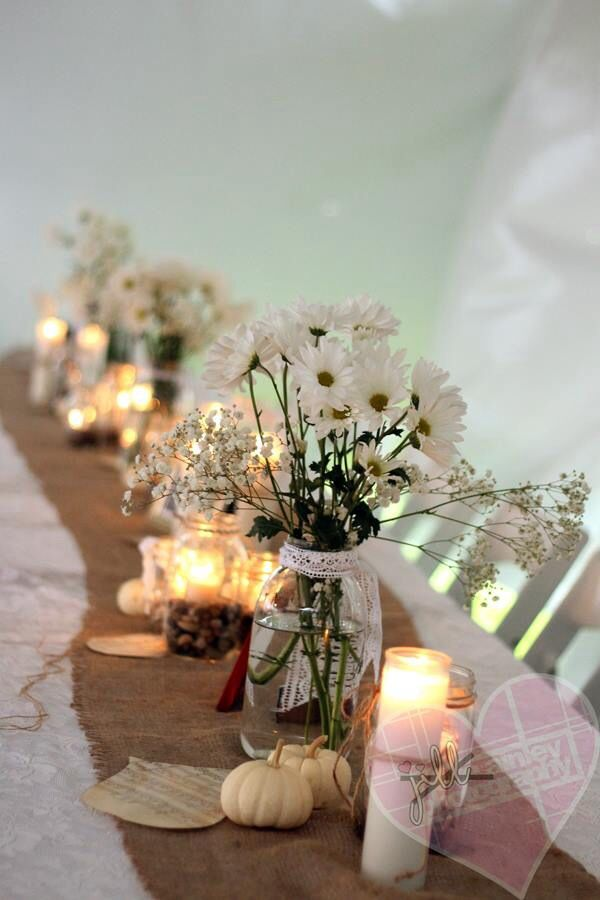Fall Wedding Decor White Pumpkins Burlap Table Runners Photo