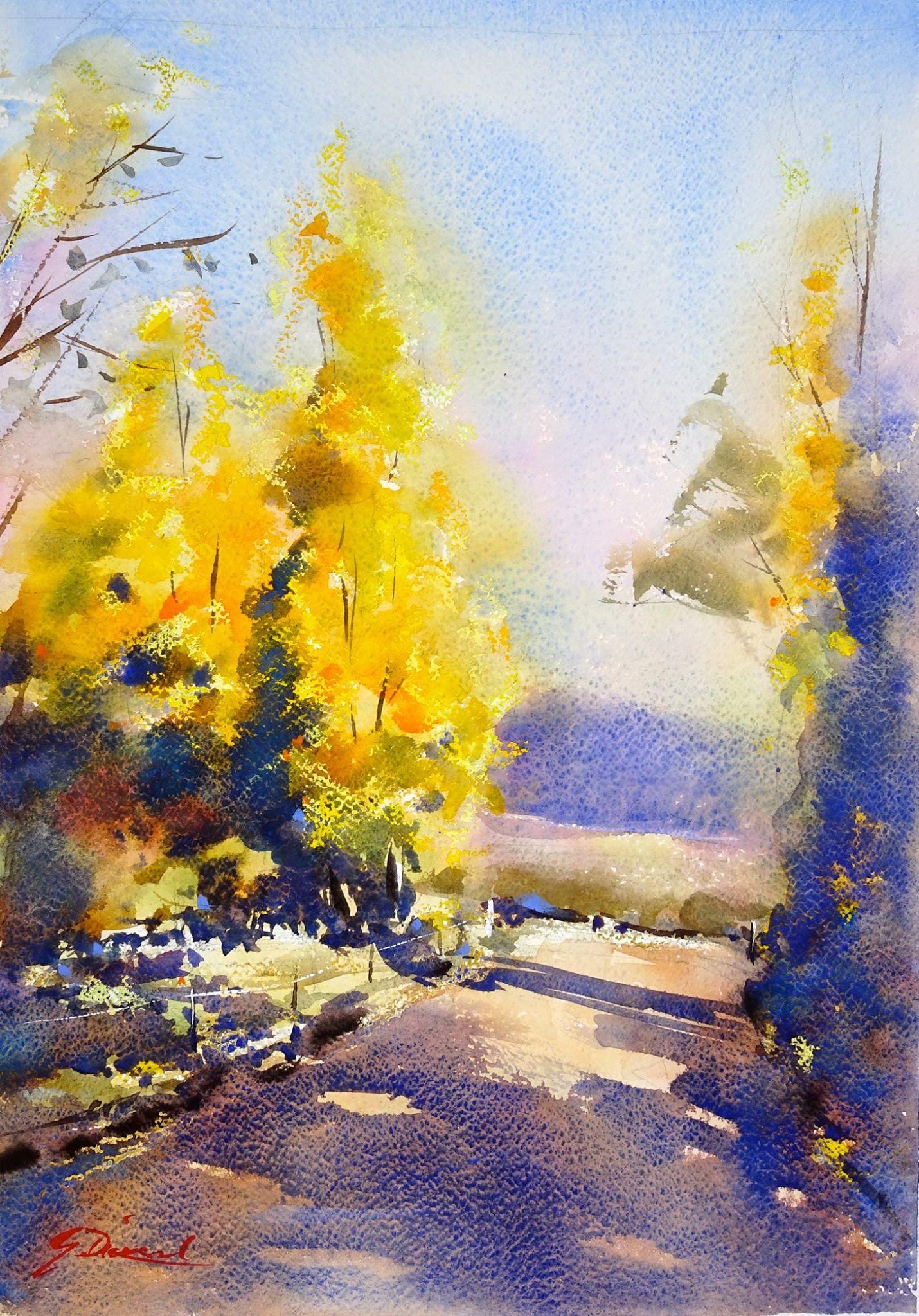 Gordon Dickson Oil Pastel And Watercolour