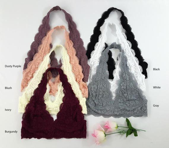 147105488b489 PLUS Size Scalloped Halter Lace Bralette More colors plus