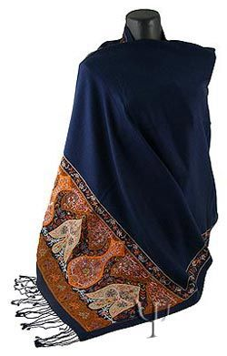 Embroidered Shawl with finely embroidered figures in various colors. It is made up of 30% silk and 70% wool