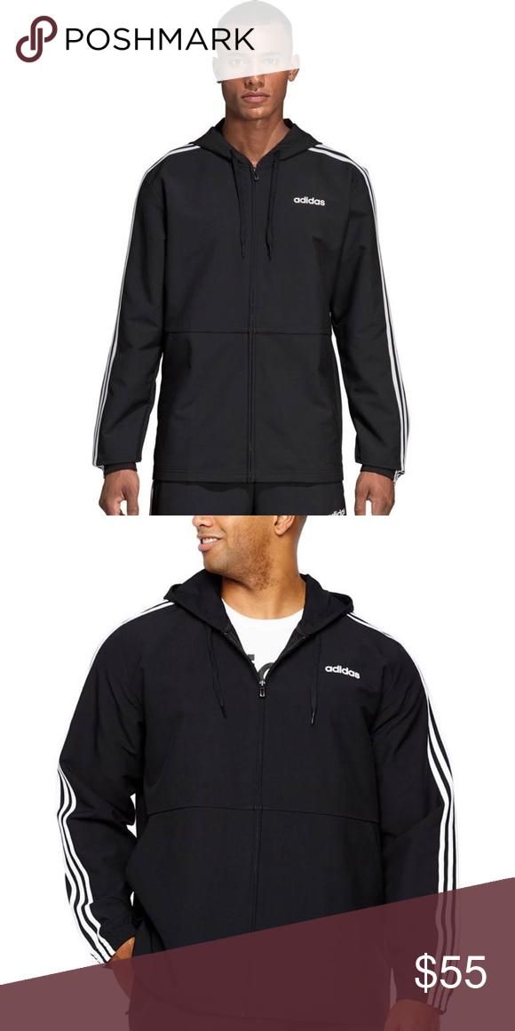 Adidas Essentials 3 Striped Hooded Windbreaker | Adidas