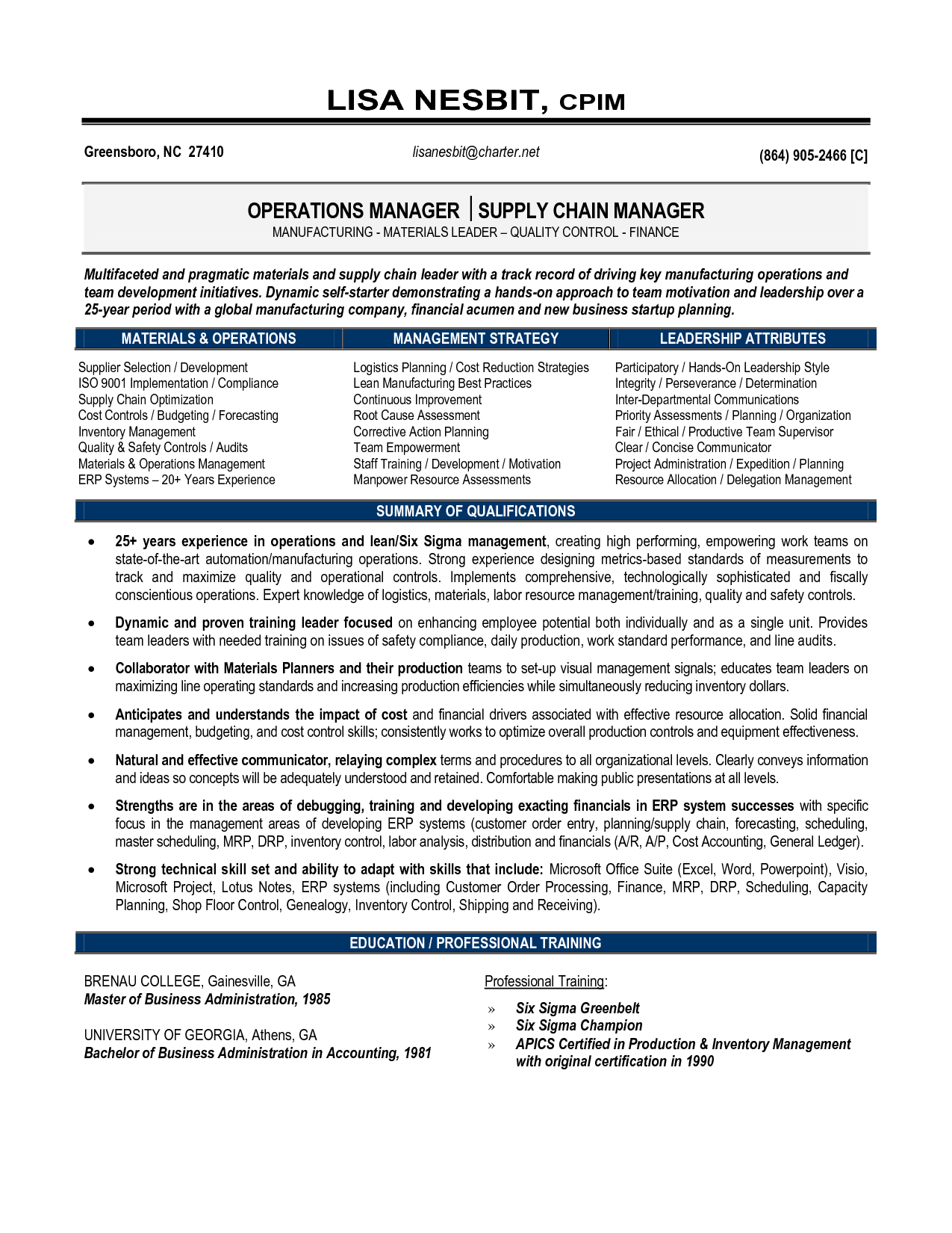 Senior Logistic Management Resume Senior Manager Supply Chain Operations In Greensboro Nc Resume L Operations Management Logistics Management Resume Examples