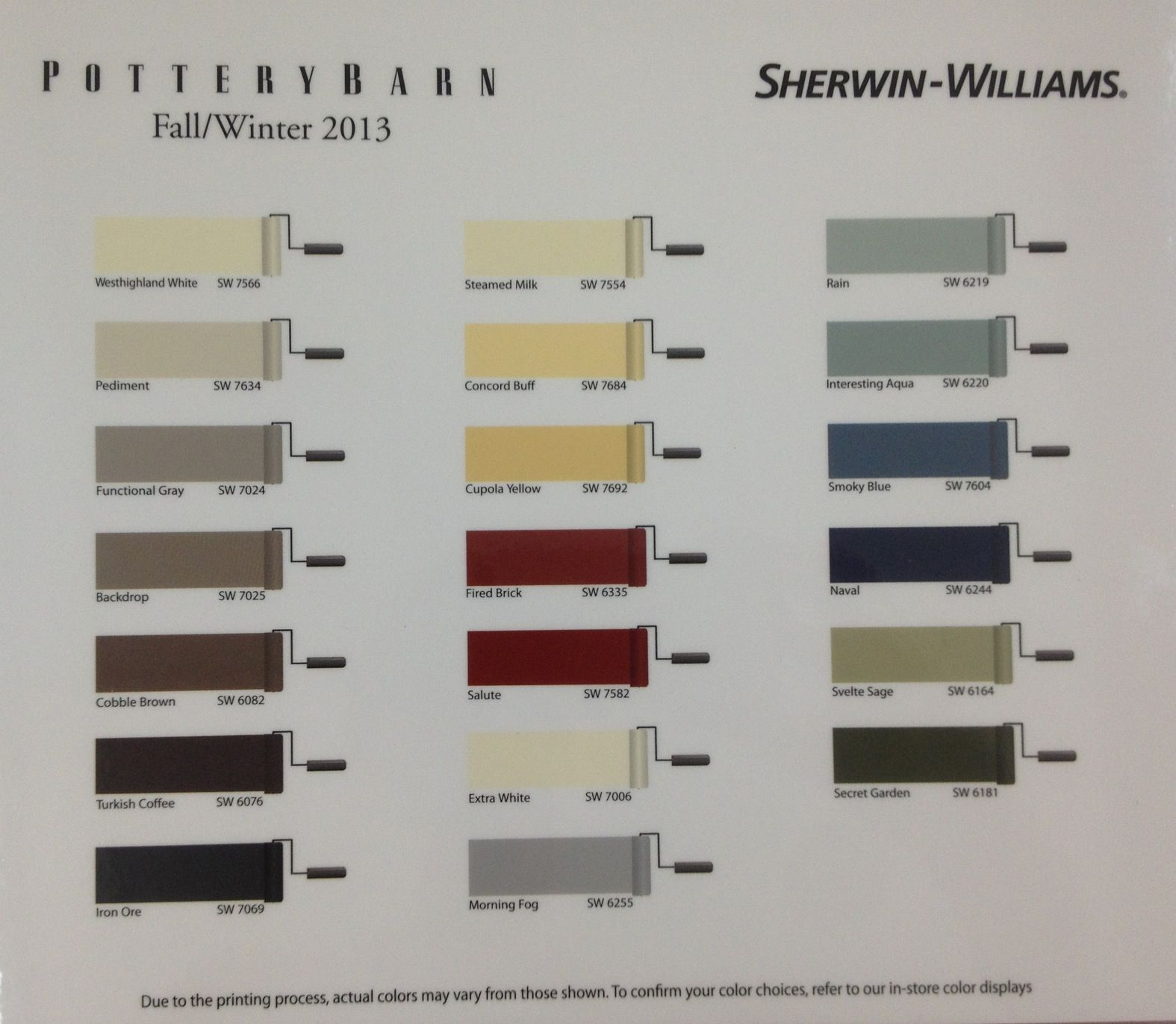 sherwin williams pottery barn paint colors fall winter 2013