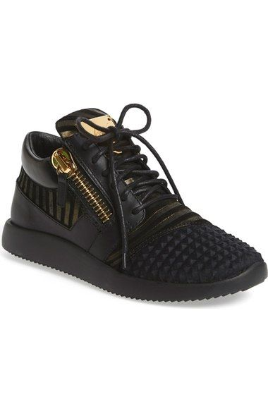 Giuseppe Zanotti Single G Lace Up Sneakers In Black Modesens Womens Sneakers Black Leather Sneakers Giuseppe Zanotti Sneakers