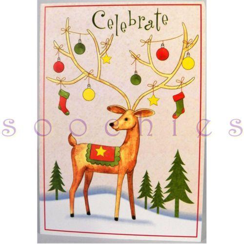 CH1 Celebrate ORNAMENTED Reindeer Snow Holiday Season Greeting Card Envelope   eBay