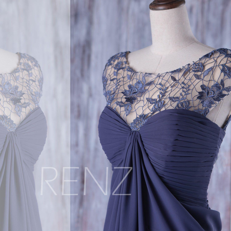 Dusty navy blue chiffon bridesmaid dressillusion lace wedding dress
