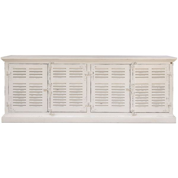 White Coastal Louvered Sideboard ($2,495) ❤ liked on Polyvore featuring home, furniture, storage & shelves, sideboards, white media furniture, white buffet, hardware furniture, painted furniture and white painted furniture