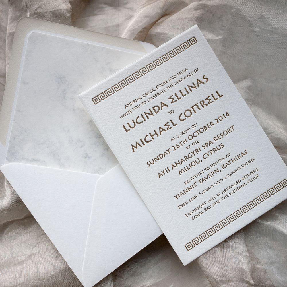 Greek themed wedding invitations #letterpress #gold, white # marble ...