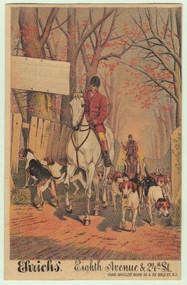 Ehrich's Victorian Trade Card Fox Hunt Hunting Dogs Horse
