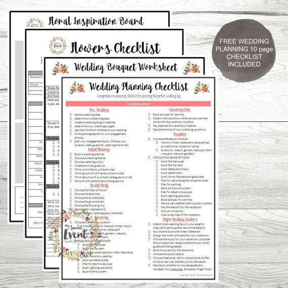 Wedding Planner Floral Planning Worksheets Printable