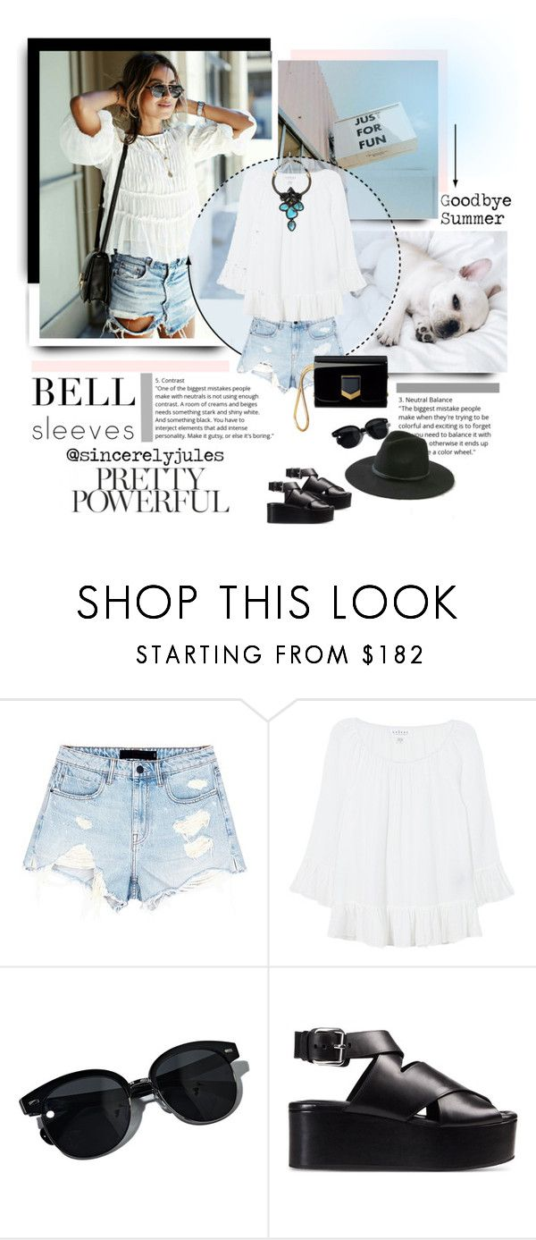 """""""Julia does Bell"""" by mkanzee ❤ liked on Polyvore featuring Alexander Wang, Velvet, Oliver Peoples, Bea Valdes and bellsleeves"""