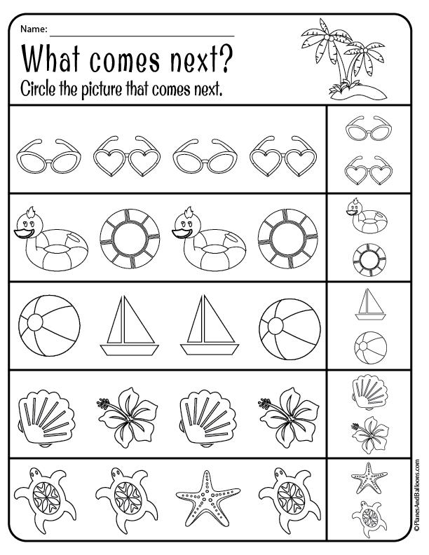 Summer worksheets for preschool and kindergarten free
