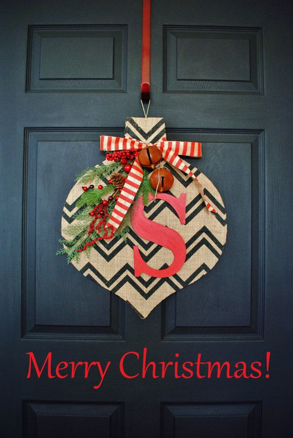 a unique fun way to decorate your front door this christmas have the prettiest door in your neighborhood with this oversized christmas ornament - Burlap Christmas Door Decorations