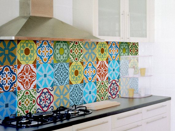 Tile Decals SET OF 15 Tile Stickers For Kitchen Backsplash Tiles Colorful  Moroccan Tiles Vintage Style Vinyl Stickers, Bathroom Decal