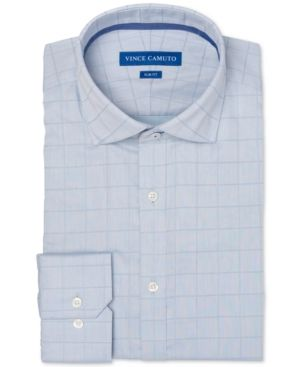 f9642f5cff6 Vince Camuto Men s Slim-Fit Comfort Stretch Twill Check Dress Shirt - Green  16.5 32 33