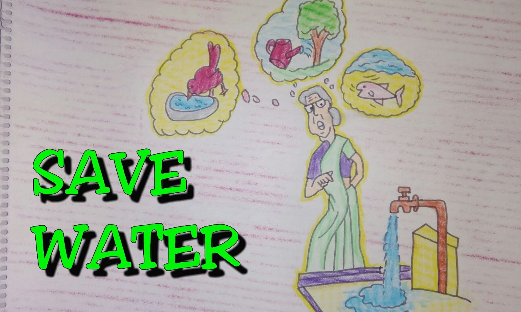 Save Water Children Drawing Dunia Belajar