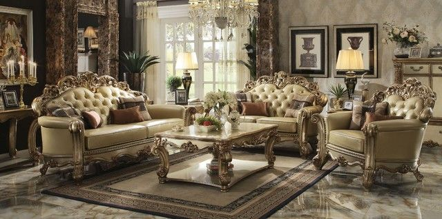 Vendome Traditional Gold Patina Formal Living Room Sets W Carved Accents