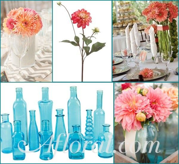 Coral wedding centerpieces afloral http