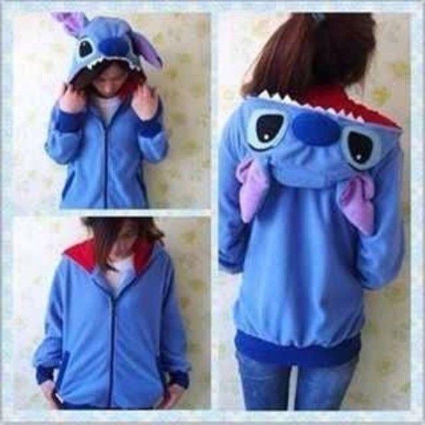 New Kigurumi Lilo /& Stitch blue Angel hoodie cosplay coat jacket