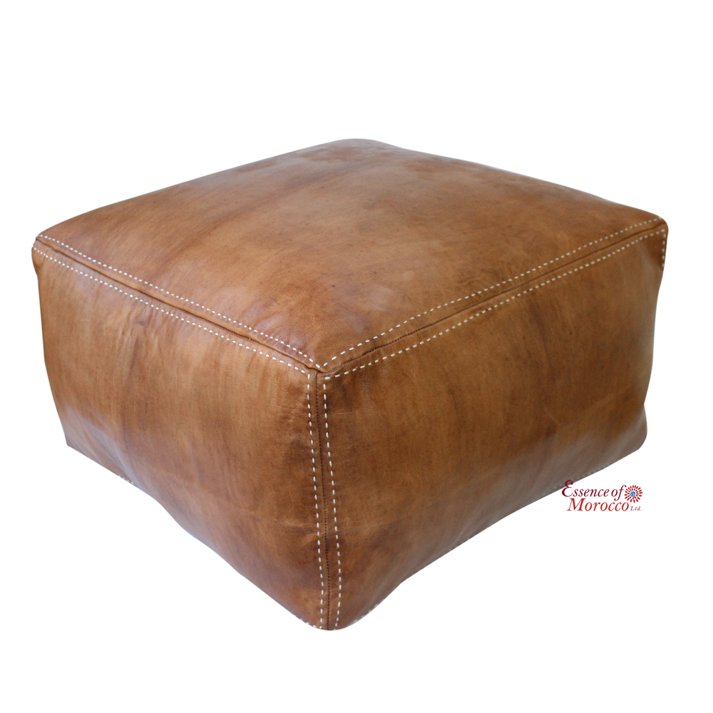 moroccan pouf ottoman stuffed in the uk large square genuine  - moroccan pouf ottoman stuffed in the uk large square genuine leathernatural tan handmade hand