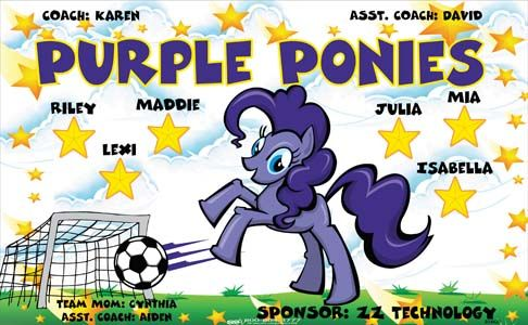 Purple Ponies B54420  digitally printed vinyl soccer sports team banner. Made in the USA and shipped fast by BannersUSA.  You can easily create a similar banner using our Live Designer where you can manipulate ALL of the elements of ANY template.  You can change colors, add/change/remove text and graphics and resize the elements of your design, making it completely your own creation.