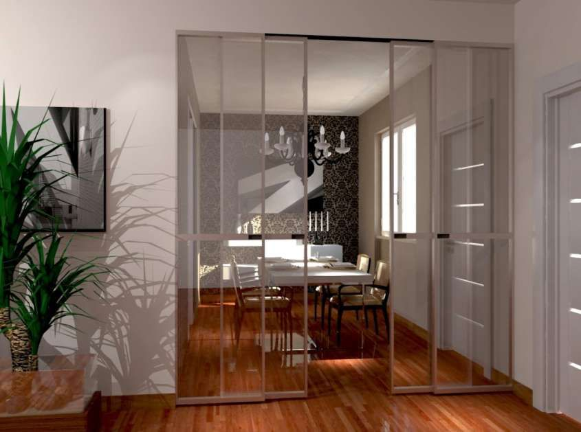 e soggiorno separati - Porta scorrevole in vetro