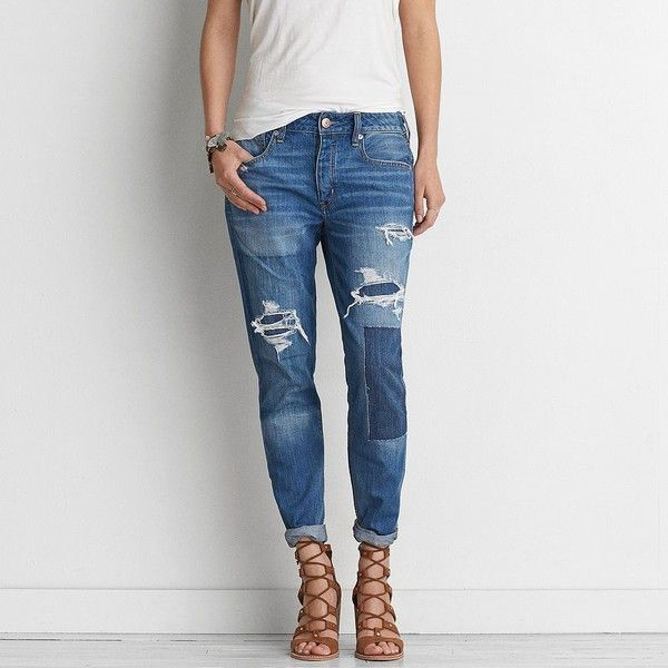 579bedb964c AEO Tomgirl Jeans ($60) ❤ liked on Polyvore featuring jeans, shadow patched  blues, relaxed fit jeans, american eagle outfitters jeans, american eagle  ...