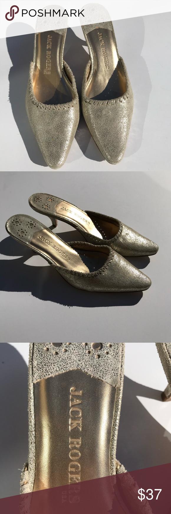 Jack Rogers Gold Metallic Kitten Heel Mule 8 Slip On Stylish Dressy Mule In Great Condition Jack Rogers Shoes In 2020 Jack Rogers Shoes Jack Rogers Gold Heeled Mules