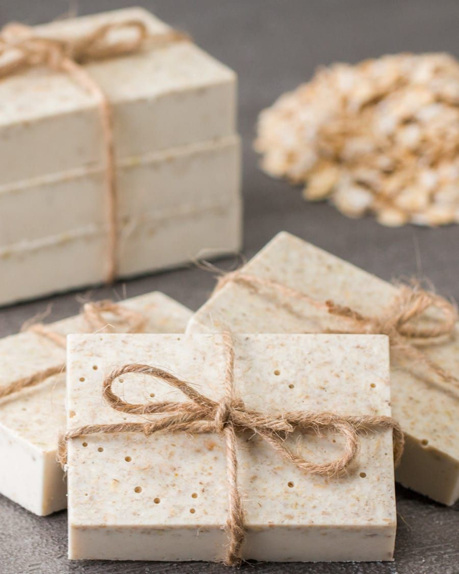 Easy luxurious moisturizing soap: SUPPLIES 1 pound oatmeal soap base, cubed ½ cup rolled oats 1 cup ground oats 3 tablespoons honey