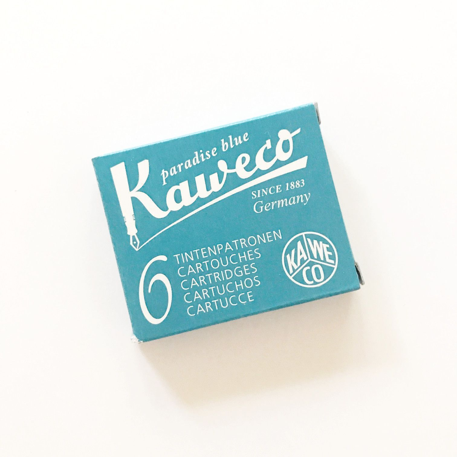 Pack of 6 Paradise Blue Kaweco Fountain Pen Ink Cartridges short Turquoise