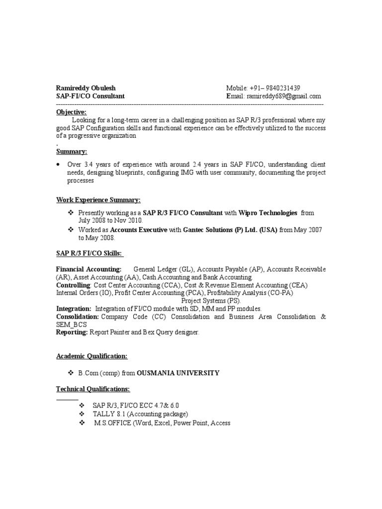Sap Fico Resume Format Sample Cover Letter Ramireddy Depreciation