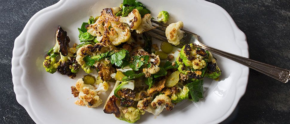 Charred Cauliflower With Toasted Bread Crumbs Cornichons And