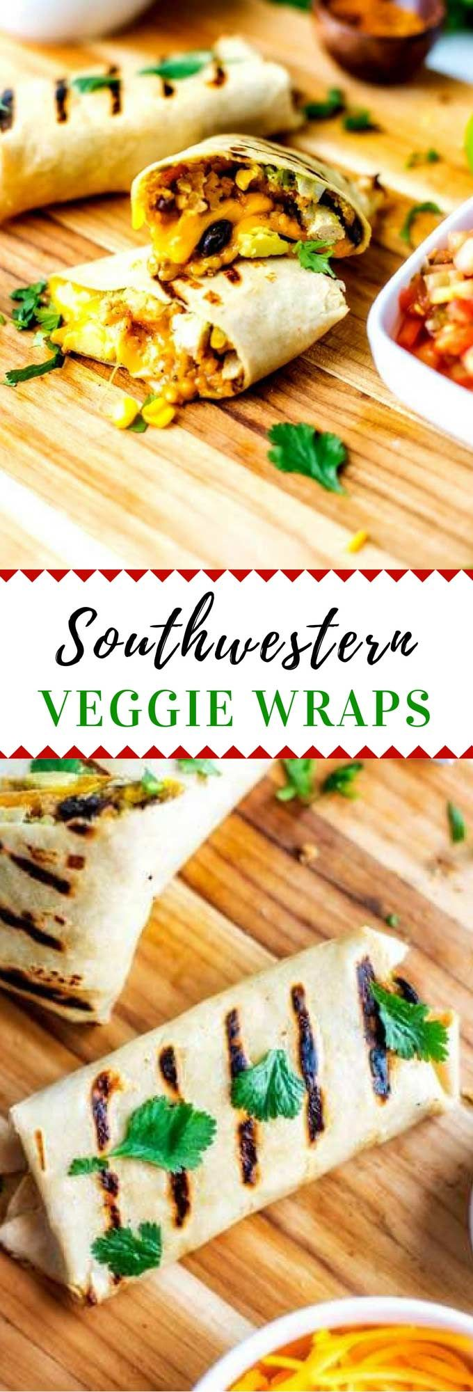 This Southwest Veggie Wrap Recipe is an easy lunch or dinner idea that the whole family will love.  It is perfect for meal prep and can be served warm or cold. Easily made into a vegan Southwestern Wrap with the use of vegan cheese. via @wendypolisi