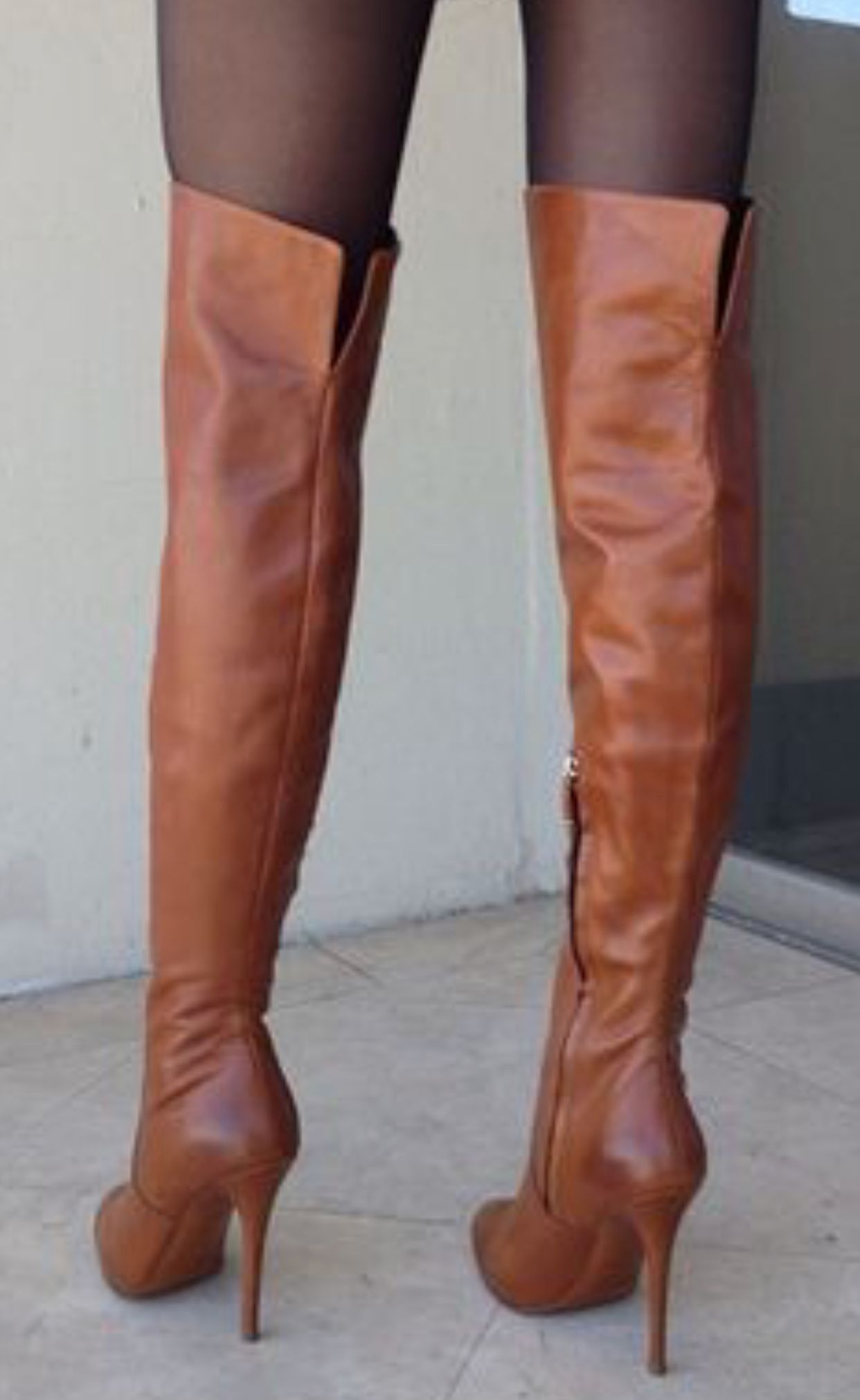 5fdf65f737f Brown high heel OTK boots with hose