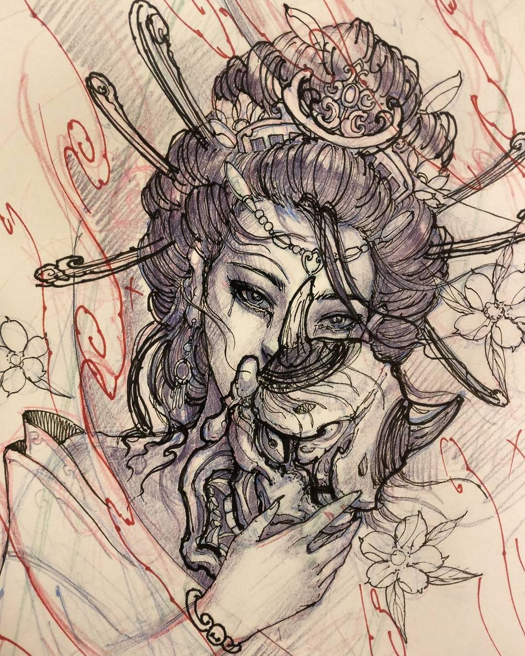 Sketch For A Japanese Sleeve: Geisha Holding Hannya Sketch. #chronicink #asiantattoo