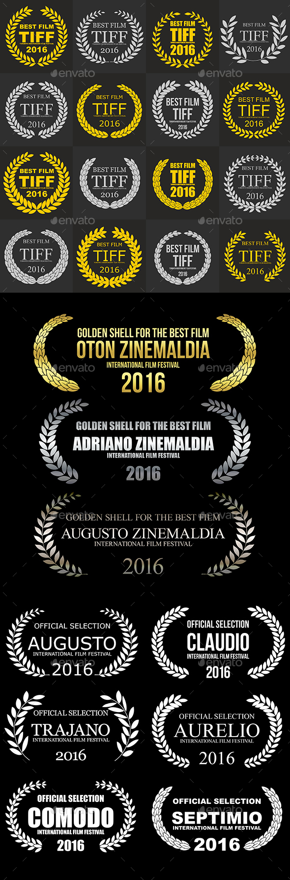0a3d2eaeed13a Set of Film Award Laurel Wreaths PSD Template • Download ➝  https   graphicriver