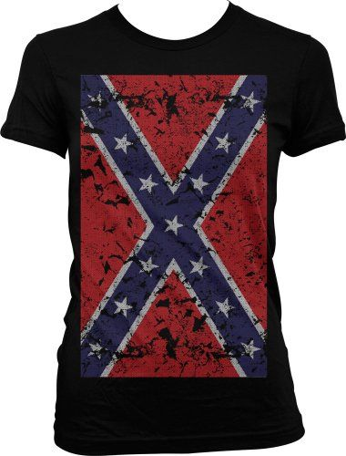 b467ec4b013e2 Amazon.com  Big Faded Confederate Flag Redneck White Trash Southern Cool  Juniors   Girls T-shirt Tee  Clothing  13.95