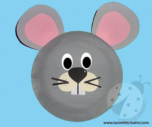 Maschere carnevale con piatti di carta topo carnevale - Immagini di animali dello zoo per bambini ...
